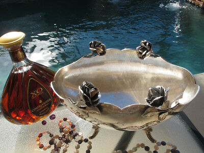 Old Large Sterling Silver Footed Bowl Dish Centerpiece Peruvian Handmade Roses
