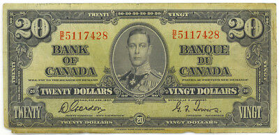 Bank of Canada 1937 $20 Twenty Dollars Gordon-Towers B/E Prefix Fine