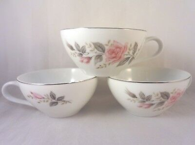 ROSE GLOW Castlecourt TEA COFFEE CUPS (Set of 3) Pink Roses Gray Leaves