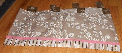 Cocalo Baby Mia Rose Window Valance Tab Top Floral Stripe Pink Brown White