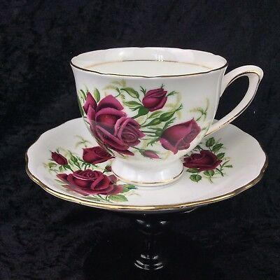 Vintage Colclough China Teacup & Saucer Duo Red Rose 1960's First Quality Kitsch