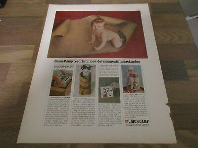 Union Camp - Developments In Packaging - Cute Bare Bottom Baby 1965 Print Ad