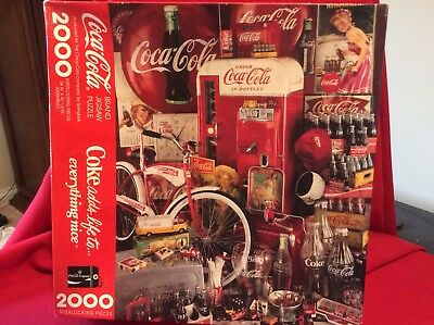 "Coca-Cola Coke 2000 Piece Puzzle Jigsaw Interlocking Springbok 34""x42 1/2"" NIB"