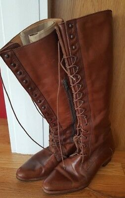 Vintage Bloomingdale's Italy Tan Brown Cognac Leather Lace Up Granny Boots 8.5M