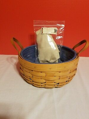 """Longaberger 1995 10"""" Darning Basket w Protector and 2 Liners Combo"""