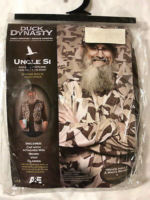 Duck Dynasty Uncle Si Adult Halloween Costume Hat Wig Beard Glasses Vest  sc 1 st  PicClick & NWT DUCK DYNASTY Uncle Si Adult Halloween Costume Hat Wig Beard ...