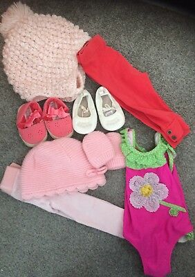 6-9 Months Baby Girl Bundle Hats Gloves Leggings Next Shoes Swimsuit
