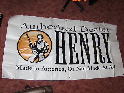 Authorized Henry Gun Dealer Heavy Vinyl Wall Banner 75X39 Repeating Arms