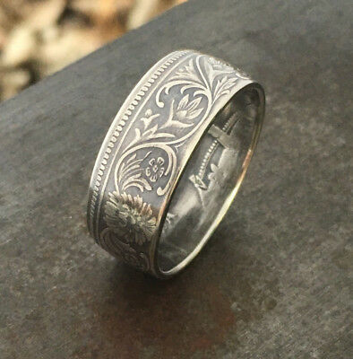 Indian Rupee Silver Coin Ring-Sizes 8-12