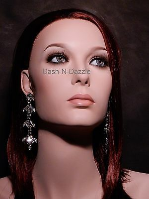 Female mannequin wig bust GRAY HAZEL  GLASS EYES!