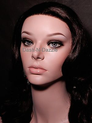 Female mannequin wig bust  BLUE GRAY HAZEL  GLASS EYES!