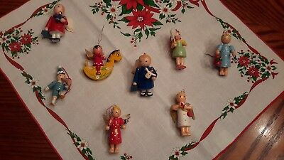 Lot of 8 Large Vintage Wooden Christmas Ornaments - Festive Variety