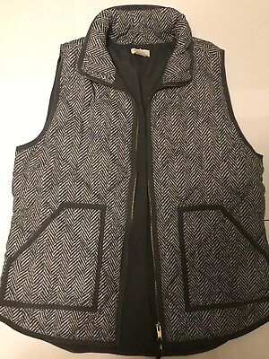 J.Crew Women's Medium Dark Grey and White Zipper Vest