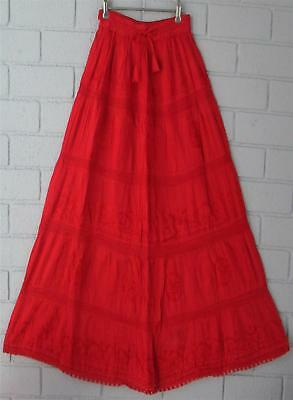 Gypsy Red Embroidered Elastic Waist  Lace & Cotton Maxi Skirt 12 14 16 18 20 22