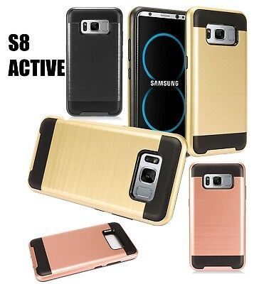 For Samsung Galaxy S8 Active - HYBRID RUGGED BRUSHED ARMOR HARD PHONE CASE COVER