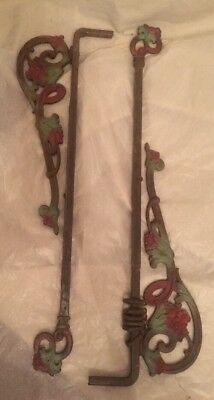 Pair Antique Ornate Victorian Cast Iron Swing Arm Curtain Drapery Rods