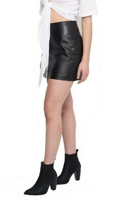 Sara Fox Black Leather A-line Skirt Size M