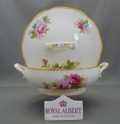 Royal Albert England American Beauty Bone China Covered Vegetable Serving Dish