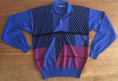 Vtg 80's Mens Ski Sweater Acrylic Geometric  Pull Over Hipster New Wave. XL