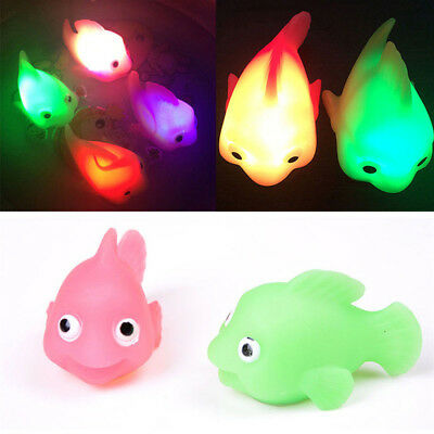 Caretoon Goldfish Baby Water Induction LED Light Changing Color Kids Bathing Toy