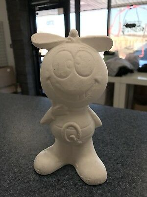 QUISP CEREAL COIN BANK UNPAINTED REPRODUCTION Quake Quaker Freakies Monster