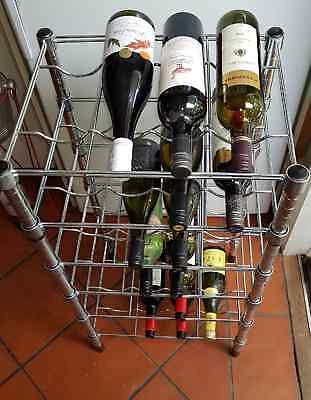 Solid Stainless Steel 24 Bottle Wine Rack Storage Quality Item No Thin Bent Wire