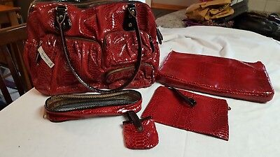 NWT Large Red Croc Look QVC Overnight Bag with 4 Accessory Items