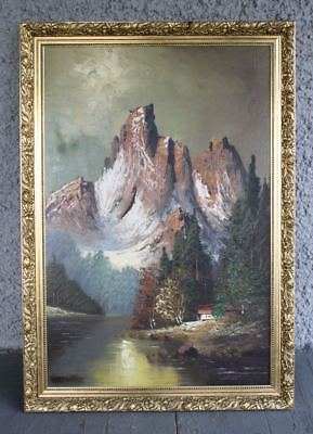 Large Vintage Landscape Oil Painting by CALASANDRO. Mountain Trees River 1974