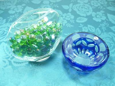 Blue Glass Ash Tray & Round Shape Vase With Beads