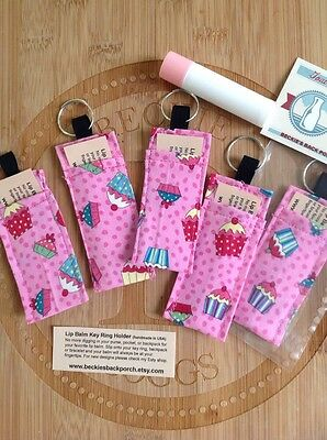 Chapstick Lip Balm Holder For Keychain, Purse Or Belt loops- Cupcakes Galore