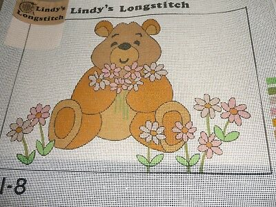 """Lindy's Long Stitch - """"bear With Flowers"""" -Tapestry Canvas- New"""