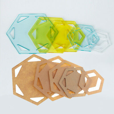 5pcs Assorted Hexagon Acrylic Quilting Templates Ruler for Patchwork Sewing