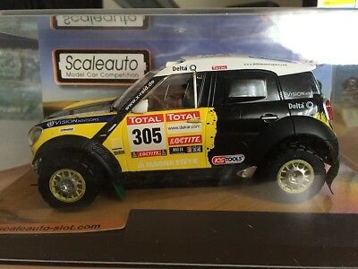 Sc-6093 Scaleauto Mini Countryman Yellow  #305 Dakar Rally Damaged Car 1/32