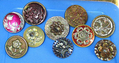 Lot 10 Antique Victorian Buttons - Mixed Metal Flowers - Brass Steel Pewter Tint