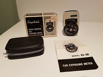 Capital D3 Super Sensitive CdS exposure meter light reading in box collectable