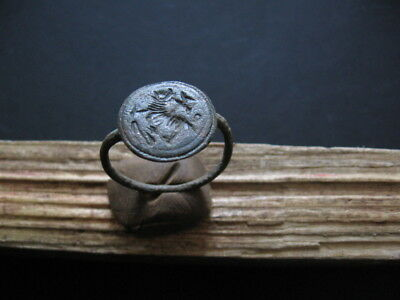 UNIQUE ANCIENT ROMAN BRONZE SEAL MAGIC ANIMAL MARK FINGER RING 1-2 ct A.D.