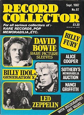 Record Collector  #97  September 1987   BOWIE, Alice Cooper, Led Zeppelin