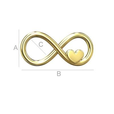 High Quality Sterling silver 925 24k. goId plated Infinity sign with heart charm