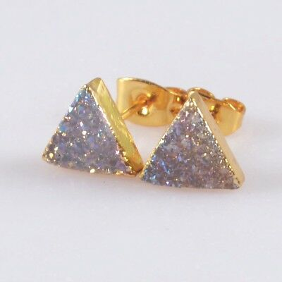 8mm Triangle Natural Agate Druzy Titanium AB Stud Earrings Gold Plated T050362