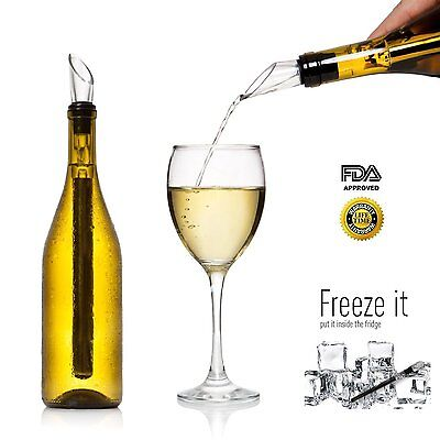 2 x Wine Chill Stick Stainless Steel Bottle Chiller Cooler + Pour Spout Ice Cold