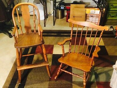 "Antique Solid Wood High Chair & Vintage Rocker Set, ""LOTS OF CHARACTER"""
