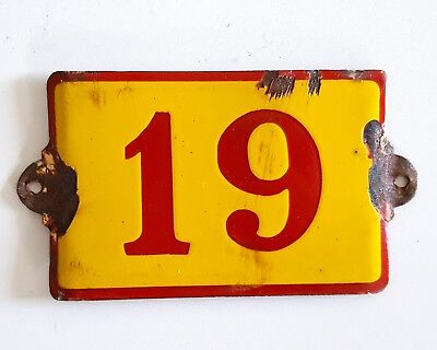 Antique Vintage French Enamel Porcelain Door House Gate Number Sign Plate 19