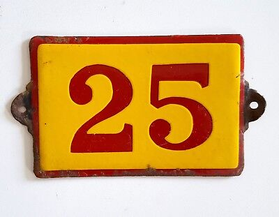 Antique Vintage French Enamel Porcelain Door House Gate Number Sign Plate 25