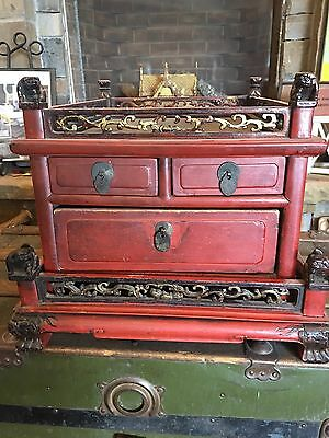 Antique Carved Chinese Buddhist Alter Cabinet Foo Dog Corners
