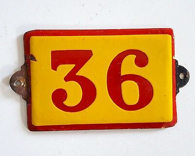 Antique Vintage French Enamel Porcelain Door House Gate Number Sign Plate 36
