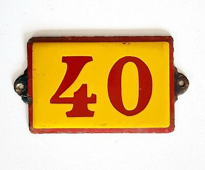 Antique Vintage French Enamel Porcelain Door House Gate Number Sign Plate 40