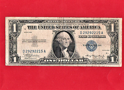 """1935 $1 Silver Cert,with """"no Motto"""",twisted Printing Error On Obv & Rev"""