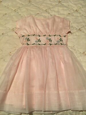 Vintage Pretty 1970's size 7 Child's PEACHES 'N CREAM PINK Dress With EMBROIDERY