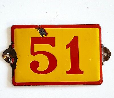 Antique Vintage French Enamel Porcelain Door House Gate Number Sign Plate 51