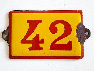 Antique Vintage French Enamel Porcelain Door House Gate Number Sign Plate 42